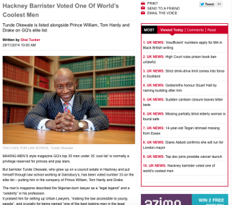The Voice - Hackney Barrister voted one of world's coolest men