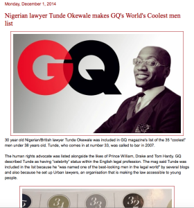 Tunde Okewale makes GQ's world's coolest men list